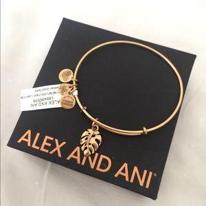Alex and Ani Gold Palm Leaf Bracelet NWT